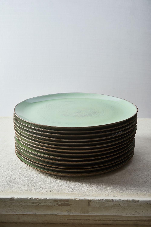 Celadon green main course plates 28cm
